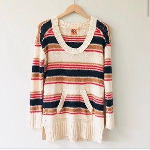Tory Burch Striped Linen Blend Sweater